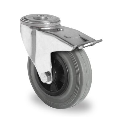 Grey Solid Rubber Tyre with Black Polypropylene Centre, Swivel Bolt Hole Castor with Trailing/Front Brake