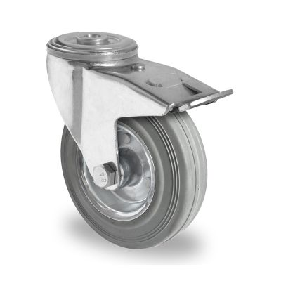 Grey Non-Marking Rubber Tyre with Steel Centre, Swivel Bolt Hole Castor with Trailing/Front Brake