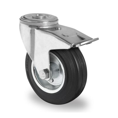 Black Solid Rubber Tyre with Steel Centre, Swivel Bolt Hole Castor with Trailing/Front Brake