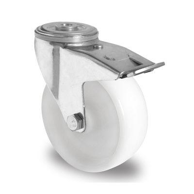 White Nylon Wheel, Swivel Bolt Hole Castor with Trailing/Front Brake