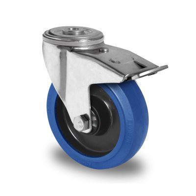 Blue Elastic Tyre with Black Nylon Centre, Swivel Bolt Hole Castor with Trailing/Front Brake