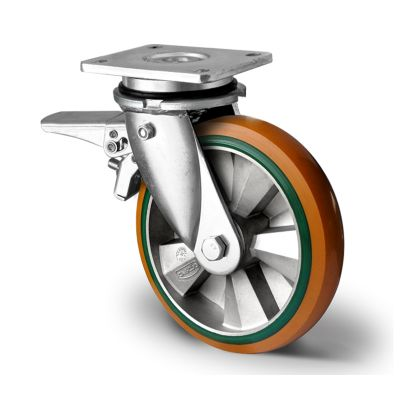 Special Hybrid Wheel, Soft Polyurethane Core with Harder Polyurethane Tyre, Swivel Top Plate Castor with Brake and Welded Housings