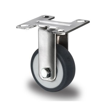 Grey TPR Tyre with Polypropylene Centre with Stainless Steel Housings, Fixed Top Plate Castor