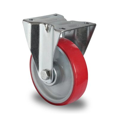 Red Polyurethane Tyre with Grey Nylon Centre, Fixed Top Plate Castor