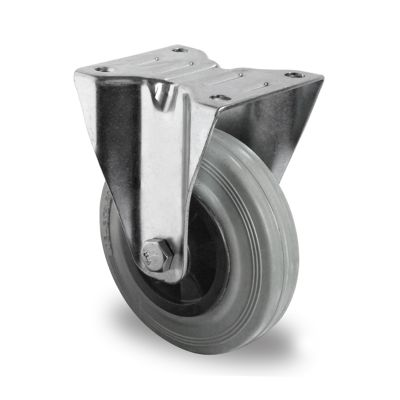 Grey Solid Rubber Tyre with Black Polypropylene Centre, Fixed Top Plate Castor