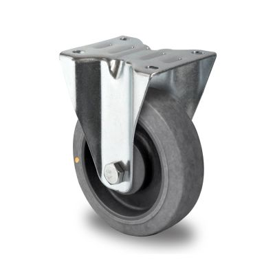 Soft Grey TPR Anti-Static Tyre, Grey Plastic Centre, Fixed Top Plate Castor