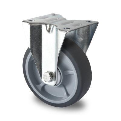 Soft grey TPR Tyre, Polypropylene centre, Fixed Top Plate Castor