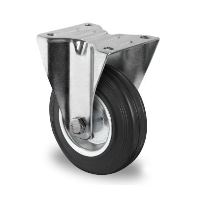 Black Solid Rubber Tyre with Steel Centre, Fixed Top Plate Castor