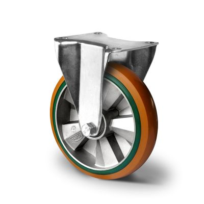 Special Hybrid Wheel, Soft Polyurethane Core with Harder Polyurethane Tyre, Fixed Top Plate Castor with Pressed Housings