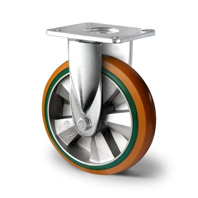 Special Hybrid Wheel, Soft Polyurethane Core with Harder Polyurethane Tyre, Fixed Top Plate Castor with Welded Housings