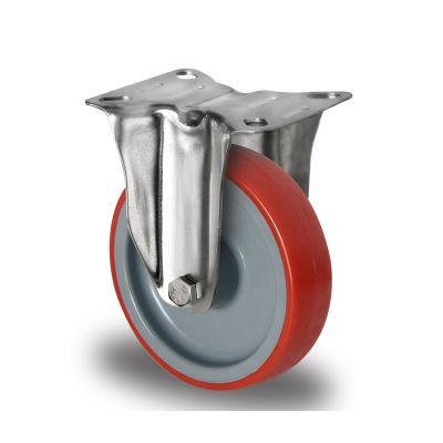 Red Polyurethane Tyre with Grey Nylon Centre, Stainless Fixed Top Plate Castor