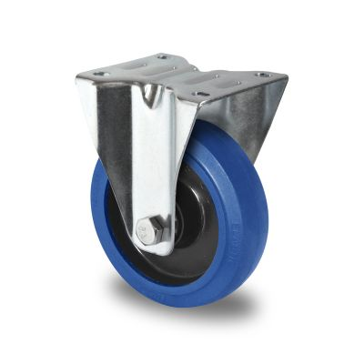 Blue Elastic Tyre with Black Nylon Centre, Fixed Top Plate Castor