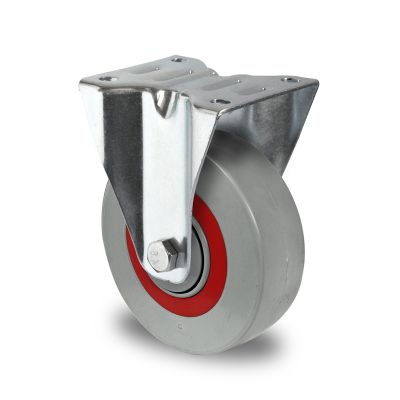 Nylon Centre Sandwich Wheel with Rubber Damping Centre, Fixed Top Plate Castor