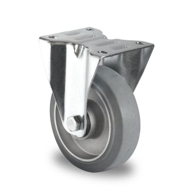 Grey Elastic Rubber Tyre with Aluminium Centre, Fixed Top Plate Castor