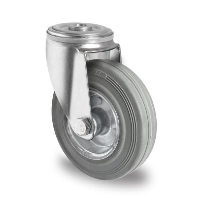 Grey Non-Marking Rubber Tyre with Steel Centre, Swivel Bolt Hole Castor