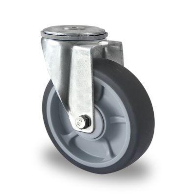 Soft grey TPR Tyre, Polypropylene centre, Swivel Bolt Hole Castor