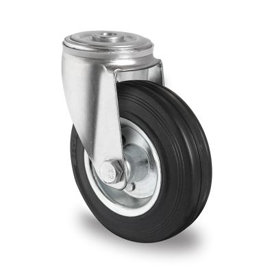 Black Solid Rubber Tyre with Steel Centre, Swivel Bolt Hole Castor