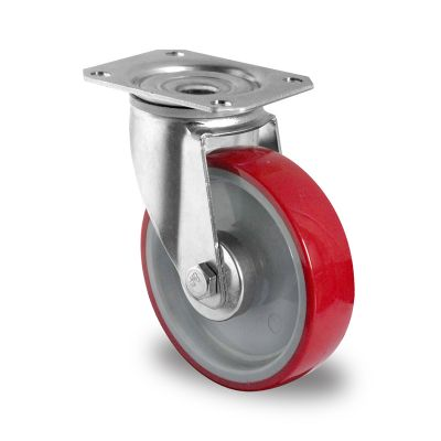 Red Polyurethane Tyre with Grey Nylon Centre, Swivel Top Plate Castor