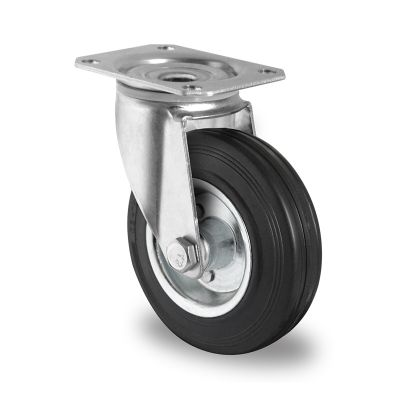 Black Solid Rubber Tyre with Steel Centre, Swivel Top Plate Castor
