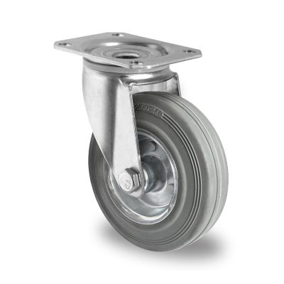 Grey Non-Marking Rubber Tyre with Steel Centre, Swivel Top Plate Castor