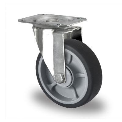 Soft grey TPR Tyre, Polypropylene centre, Swivel Top Plate Castor