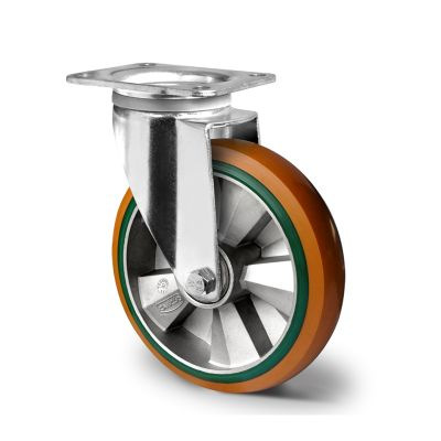 Special Hybrid Wheel, Soft Polyurethane Core with Harder Polyurethane Tyre, Swivel Top Plate Castor with Pressed Housings
