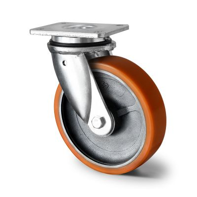 Brown Polyurethane Tyre with Iron Centre, Swivel Top Plate Castor