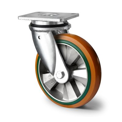 Special Hybrid Wheel, Soft Polyurethane Core with Harder Polyurethane Tyre, Swivel Top Plate Castor with Welded Housings