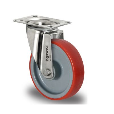 Red Polyurethane Tyre with Grey Nylon Centre, Stainless Swivel Top Plate Castor