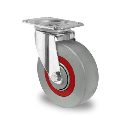 Nylon Centre Sandwich Wheel with Rubber Damping Centre, Swivel Top Plate Castor