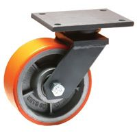 Cast Polyurethane Tyre Bonded to Cast Iron Centre, Swivel Top Plate Castor