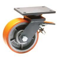 Cast Polyurethane Tyre Bonded to Cast Iron Centre, Swivel Top Plate Castor with Brake and Directional Lock