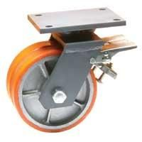 Cast Polyurethane Tyre Bonded to Cast Iron Centre, Twin Wheel Swivel Top Plate Castor with Brake and Directional Lock