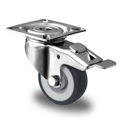 Grey TPR Tyre with Polypropylene Centre with Stainless Steel Housings, Swivel Top Plate Castor with Brake