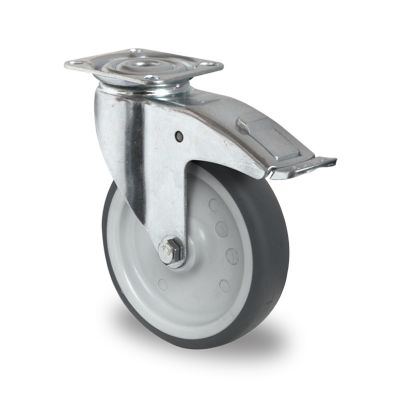 Grey TPR Tyre with Polypropylene Centre, Swivel Top Plate Castor with Brake
