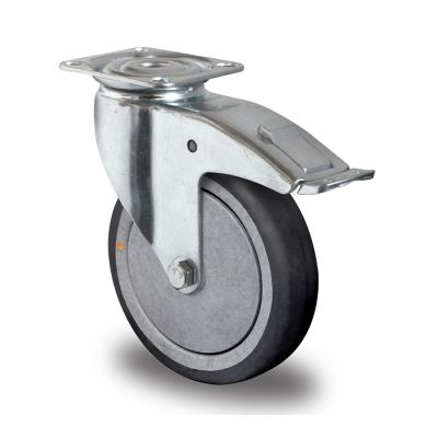 Grey TPR Conductive Rubber Tyre with Polypropylene Centre, Swivel Top Plate Castor with Brake