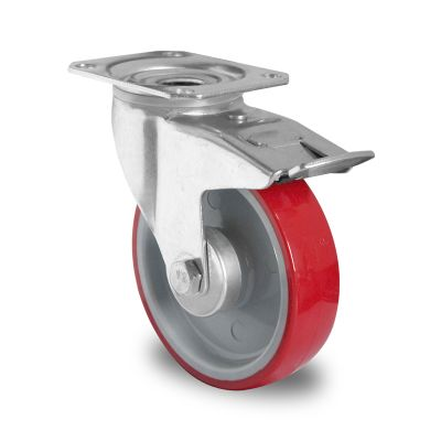 Red Polyurethane Tyre with Grey Nylon Centre, Swivel Top Plate Castor with Trailing/Front Brake