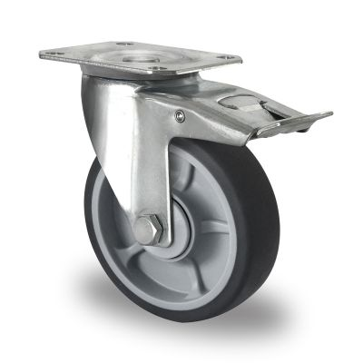 Soft grey TPR Tyre, Polypropylene centre, Swivel Top Plate Castor with Trailing/Front Brake