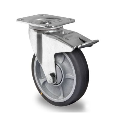 Soft grey TPR Anti-Static Tyre, Polypropylene centre, Swivel Top Plate Castor with Trailing/Front Brake