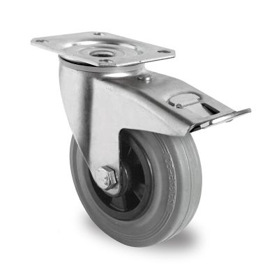 Grey Solid Rubber Tyre with Black Polypropylene Centre, Swivel Top Plate Castor with Trailing/Front Brake