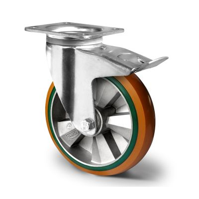 Special Hybrid Wheel, Soft Polyurethane Core with Harder Polyurethane Tyre, Swivel Top Plate Castor with Brake and Pressed Housings