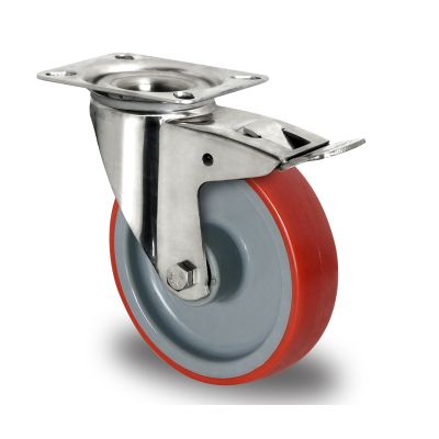 Red Polyurethane Tyre with Grey Nylon Centre, Stainless Swivel Top Plate Castor with Trailing/Front Brake