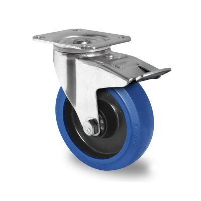 Blue Elastic Tyre with Black Nylon Centre, Swivel Top Plate Castor with Trailing/Front Brake