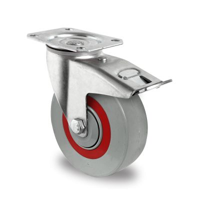 Nylon Centre Sandwich Wheel with Rubber Damping Centre, Swivel Top Plate Castor with Brake