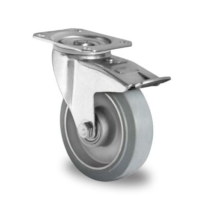 Grey Elastic Rubber Tyre with Aluminium Centre, Swivel Top Plate Castor with Brake
