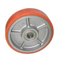 Cast Polyurethane Tyre Bonded to Cast Iron Centre, Wheel, Ball Bearing